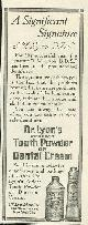 ADVERTISEMENT, 1916 Ladies Home Journal Magazine Advertisment for Dr. Lyon's Tooth Powder Or Cream