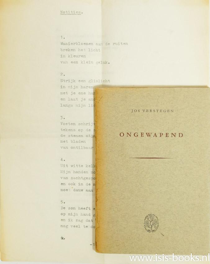 VERSTEGEN, J. - Ongewapend.