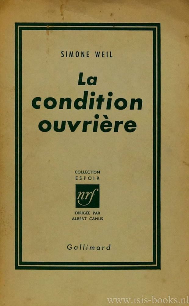 WEIL, S. - La condition ouvrière.