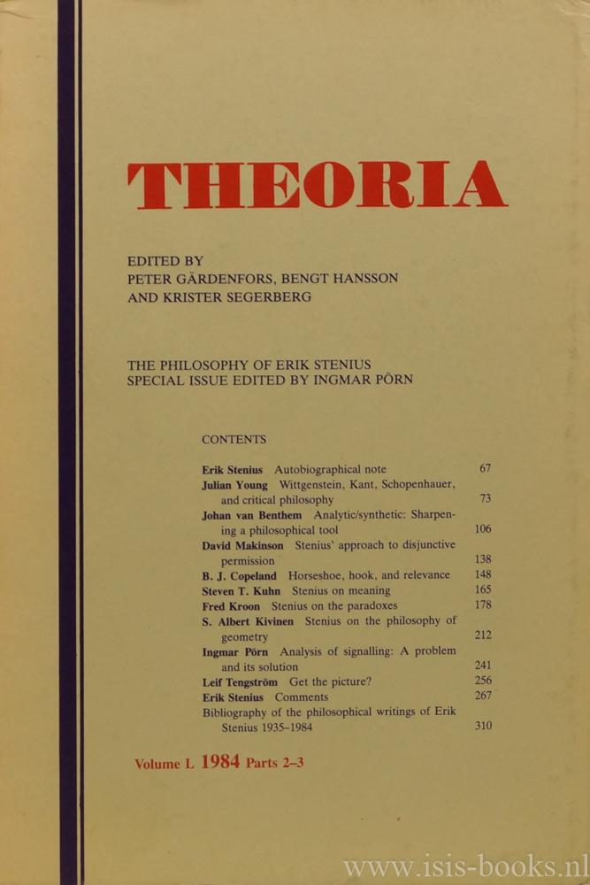 STENIUS, E., PÖRN, I., (ED.) - The philosophy of Erik Stenius.