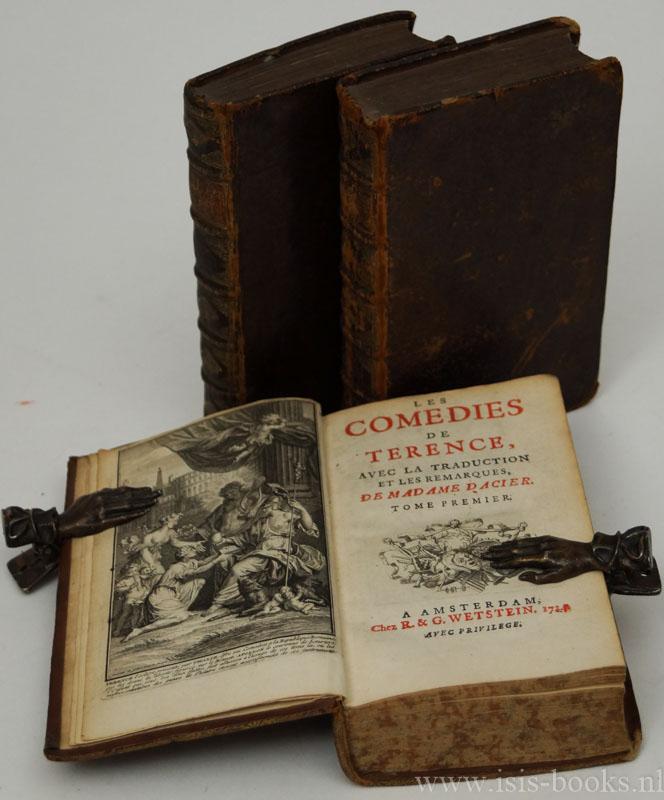TERENTIUS - Les comedies de Terence, avec la traduction et les remarques de madame d'Acier. 3 volumes.