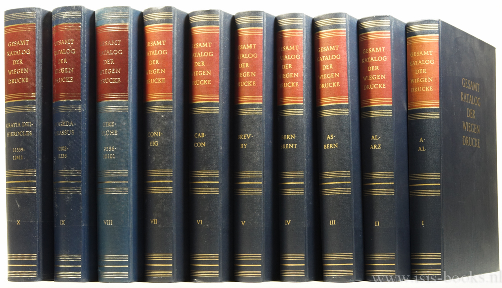 KOMMISSION GESAMTKATALOG WIEGENDRUCKE - Gesamtkatalog der Wiegendrucke. 10 volumes.