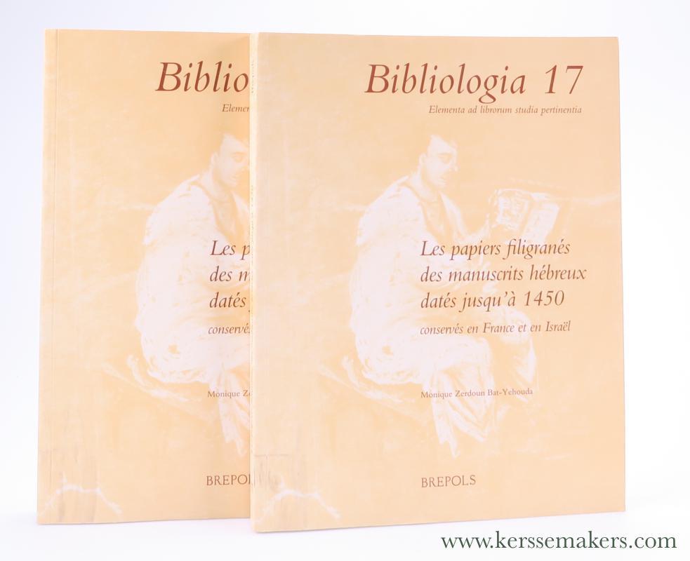 ZERDOUN BAT-YEHOUDA, MONIQUE. - Les papiers filigranés des manuscrits hébreux datés jusqu'à 1450. Vol. 1, Les papiers & Vol. 2, Les filigranes. (2 volumes).
