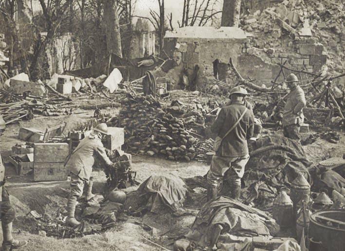 AISNE. - World War One. Region de Soupir. German depot equipment and munitions.
