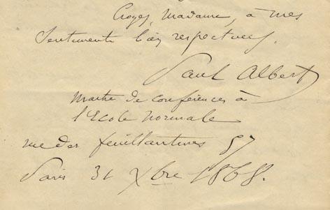 ALBERT, PAUL. - Autograph Letter, Paris 31 Octobre 1868