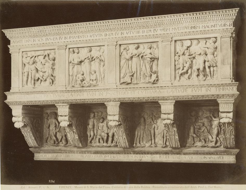 ALINARI, ED. - Firenze - Museo di S. Maria del Fiore. Cantoria si Luca dell Robbia. (Ricostituita e restaurata dall' Arch. Prof. L. Del Moro).