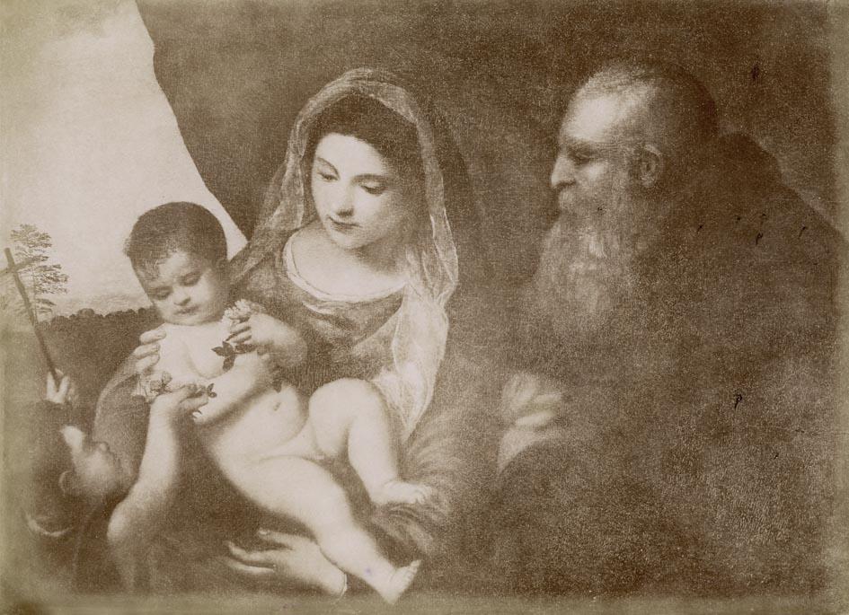 ALINARI, ED. - Firenze. Galleria Uffizi. La Madonna col Bambino Gesu, S. Giovannino e S. Antonio (Tiziano).