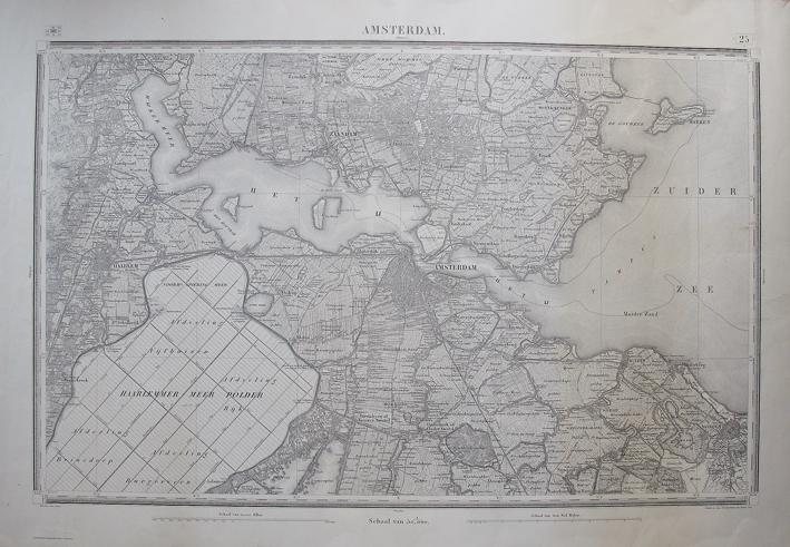 AMSTERDAM. - Plan Amsterdam, Verkend in 1849-1850. Gegraveerd Top. Bureau 1854. Ministerie van Oorlog. Facsimile.