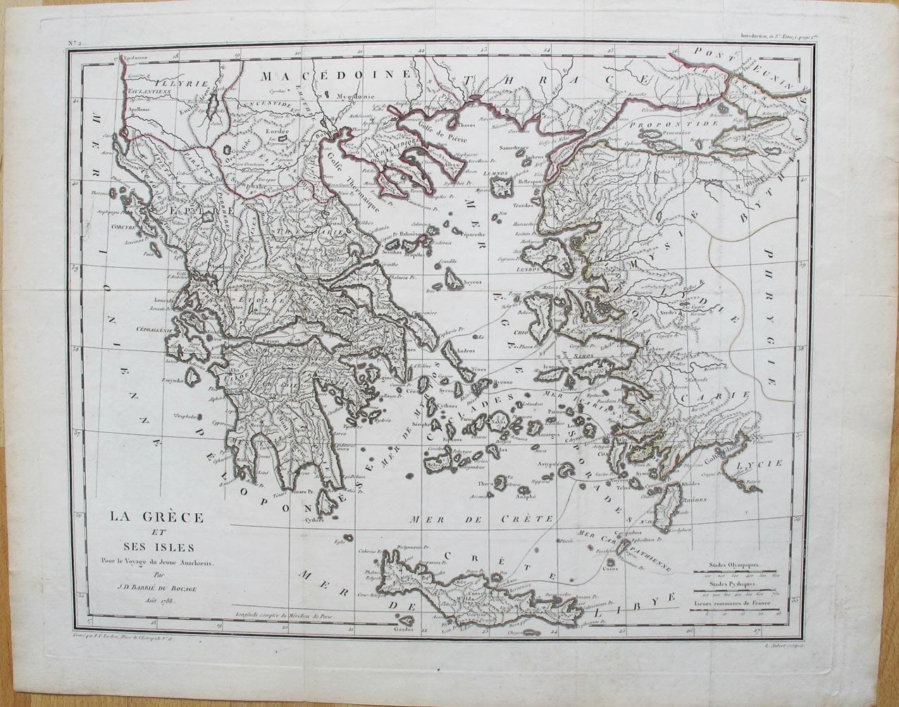 BARBIE DU BOCAGE, J. D. - La Grèce et ses Isles. Pour e Voyage de Jeune Anacharsis.
