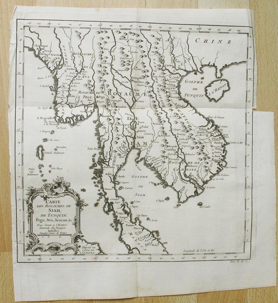 BELLIN, JACQUES NICOLAS. - Carte des Royaumes de Siam, de Tunquin, Pegu, Ava, Aracan, & c. Pour Servir à l'Histoire Générale des Voyages.  Anonyme