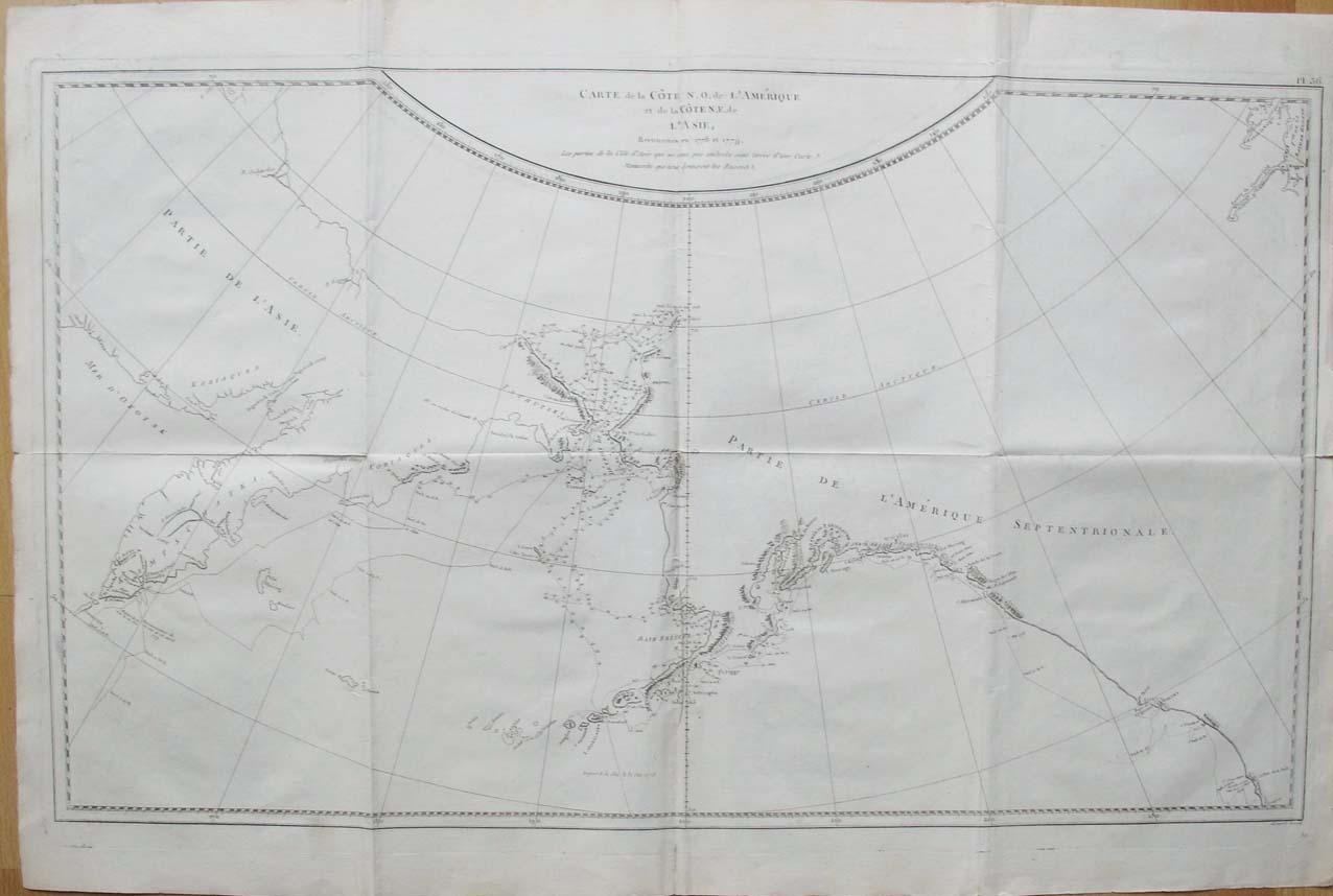 BENARD, ROBERT. - Carte de la Côte N.O. de l'Amérique et de la Côte N.E. de l'Asie, Reconnues en 1778 et 1779. Les Parties de la Cote d'Asie qui ne sont pas ombreés sont tirées d'une Cartes Manuscrits que nous donnerent les Russes