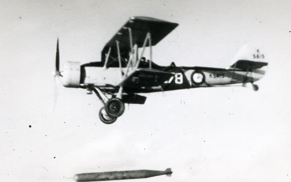 BLACKBURN. - Shark II, K5615/678, 821 Sqn, dropping torpedo, 1936.