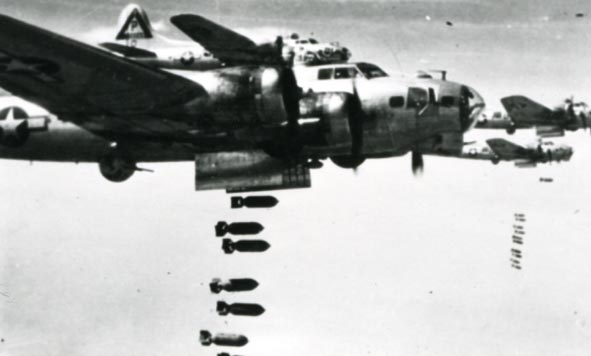 BOEING. - B-17G Fortresses, 384th BG Dropping bombs.