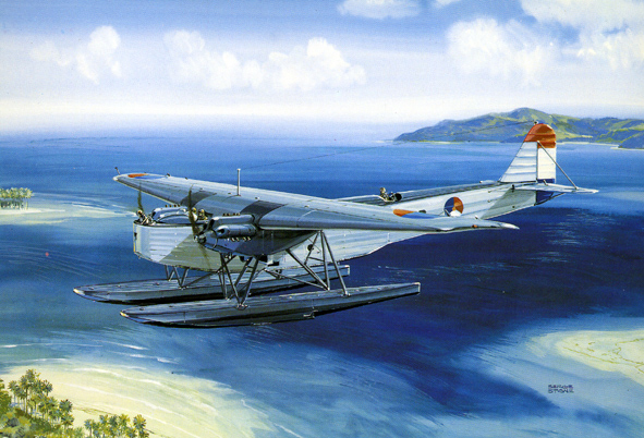 FOKKER. - T.IV, T-8 (1927), above the Indonesian Archipel. Illustration by Serge Stone.